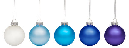Christmas baubles isolated on white Royalty Free Stock Photos