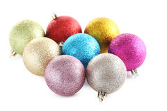 Christmas baubles. Isolated on a white background Royalty Free Stock Photo