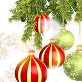 Christmas baubles isolated on white Royalty Free Stock Photo