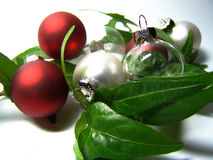 christmas baubles with ivy Stock Images