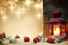 Christmas baubles with lantern Stock Photography