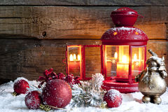 Christmas baubles and lantern in night Royalty Free Stock Photography