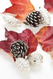 Christmas baubles with leaves Royalty Free Stock Photos