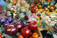 Christmas baubles. In a local market stall Royalty Free Stock Images