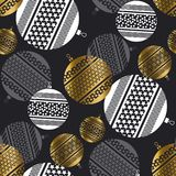 Christmas baubles luxury style seamless pattern. Gold and white on black background xmas balls repeatable motif. Simple laconic winter holiday vector design stock illustration
