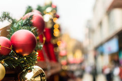 Christmas Baubles In The Market Street View. Shallow Depth of Field Stock Images