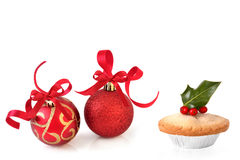 Christmas Baubles and Mince Pie Royalty Free Stock Image