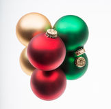 Christmas baubles in mirror reflection Stock Images