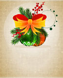 Christmas baubles with orange bow Stock Photos