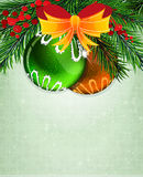 Christmas baubles with orange bow Stock Image