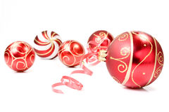 Christmas baubles over a white background Royalty Free Stock Photo