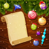 Christmas Baubles And Paper Sheet Royalty Free Stock Images