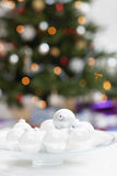 Christmas Baubles On Plate Stock Photography