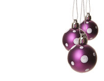 Christmas baubles purple Stock Photo