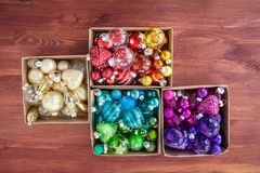 Christmas baubles in rainbow colors Stock Image
