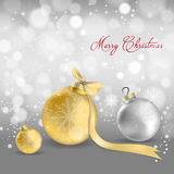 Christmas baubles. Realistic Christmas baubles with elegant pattern on them Royalty Free Stock Photo