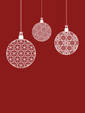 Christmas baubles on red Stock Photography