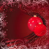 Christmas baubles on red background Royalty Free Stock Photo