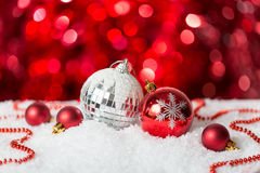 Christmas Baubles on red background. Royalty Free Stock Photography