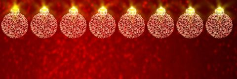 Christmas baubles on red defocused background stock illustration