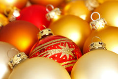 Christmas baubles red gold star Royalty Free Stock Photography