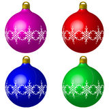 Christmas Baubles. In red green blue purple Royalty Free Stock Photos