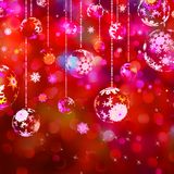 Christmas baubles on red sparkly. EPS 10 Royalty Free Stock Image