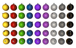 Christmas baubles. Rendering of different coloured christmas baubles Royalty Free Stock Image
