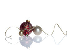 Christmas Baubles with ribbon Royalty Free Stock Images