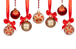 Christmas baubles with ribbon isolated on white Royalty Free Stock Photo