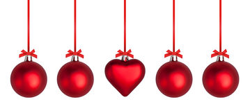 Christmas Baubles and Ribbons Stock Images