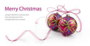 Christmas baubles with ribbons Stock Image