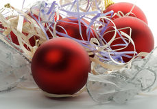 Christmas Baubles and Ribbons Royalty Free Stock Photos