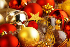 Christmas baubles, ribbons and bows. Backdrop of christmas baubles, ribbons and bows Royalty Free Stock Photography
