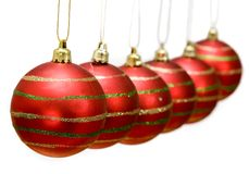 Christmas baubles in a row Royalty Free Stock Photo
