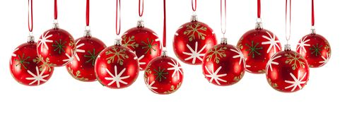 Christmas baubles in a row isolated on white background. Can be used as decoration royalty free stock photos