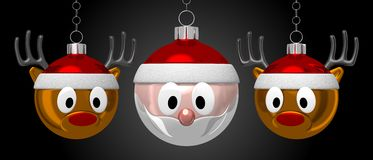 Christmas baubles - Santa Claus and deers Royalty Free Stock Photography