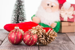 Christmas baubles and Santa Claus toy background Stock Photography
