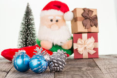 Christmas baubles and Santa Claus toy Stock Photo