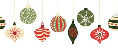 Free Christmas Baubles Seamless Vector Border. Repeating Banner Background With Hanging Christmas Ornament Garland Red And Royalty Free Stock Image - 196203676