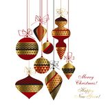 Christmas baubles set in red, gold and black. Vintage style Christmas baubles set in red, gold and black colors. Flat simple xmas design for header, card royalty free illustration