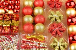 Christmas baubles set. Set of red and golden Christmas gift baubles Stock Photos