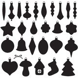 Christmas baubles set. Silhouette image of Christmas baubles set Stock Image