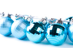 Christmas baubles with silver ribbon Stock Photo