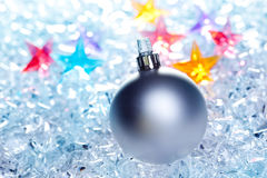 Christmas baubles silver on winter ice Stock Photography