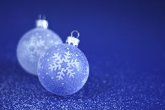 Christmas Baubles on Snow Stock Photo