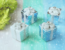 Christmas baubles and snow Royalty Free Stock Images