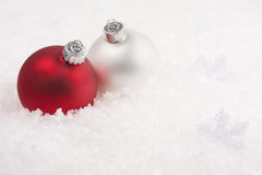 Christmas baubles and snowflake garland Royalty Free Stock Images