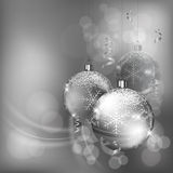 Christmas baubles with snowflake in silver Royalty Free Stock Photo