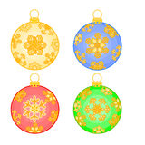 Christmas baubles with snowflakes vector Stock Image